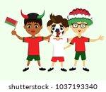 fan of belarus national... | Shutterstock .eps vector #1037193340