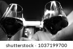 elegant woman drinking red wine ... | Shutterstock . vector #1037199700
