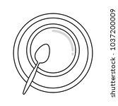flat line uncolored   crockery  ... | Shutterstock .eps vector #1037200009