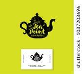 tea point logo. tea bar emblem. ... | Shutterstock .eps vector #1037203696