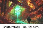 man looking at glowing... | Shutterstock . vector #1037215393