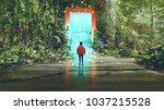 fantasy scenery showing the boy ... | Shutterstock . vector #1037215528