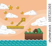 pixelated game scenery | Shutterstock .eps vector #1037221303