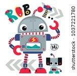 cute cartoon robot waving with... | Shutterstock .eps vector #1037221780