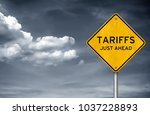 tariffs   just ahead | Shutterstock . vector #1037228893
