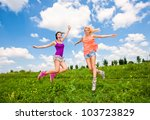 two girlfriends having fun in... | Shutterstock . vector #103723829
