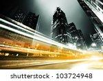 traffic in hong kong at night | Shutterstock . vector #103724948