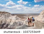 family on a vacation hiking... | Shutterstock . vector #1037253649