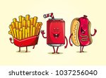 cheerful and fun fast food... | Shutterstock .eps vector #1037256040