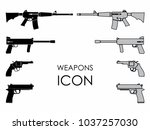 weapons icons colored | Shutterstock .eps vector #1037257030