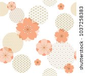 japanese pattern with cherry... | Shutterstock .eps vector #1037258383
