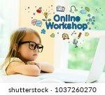 online workshop text with... | Shutterstock . vector #1037260270