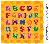 alphabet baby quilt  bright... | Shutterstock .eps vector #1037266096