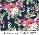 seamless vintage flower pattern | Shutterstock .eps vector #1037272369