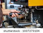 cafe barista making coffee... | Shutterstock . vector #1037273104