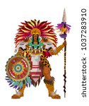 aztec strong warrior with spear | Shutterstock .eps vector #1037283910