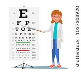 female ophthalmology vector.... | Shutterstock .eps vector #1037303920
