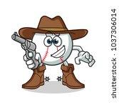 baseball cowboy holding gun... | Shutterstock .eps vector #1037306014