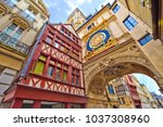 great clock street rouen  france | Shutterstock . vector #1037308960
