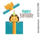 happy birthday card with cute... | Shutterstock .eps vector #1037311789
