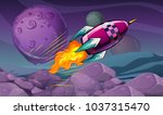 scene with rocket flying over... | Shutterstock .eps vector #1037315470