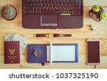 top view of laptop  notebook ... | Shutterstock . vector #1037325190