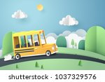 paper art of school bus running ... | Shutterstock .eps vector #1037329576