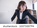 Small photo of New generation asian teenage girl office work against time