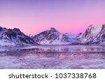 mountain ridge and reflection... | Shutterstock . vector #1037338768