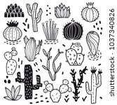 succulents and cacti plants....   Shutterstock .eps vector #1037340826