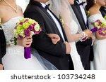 Newly married couple  wedding - stock photo