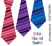 Bright Spanish 'Happy Father's Day' neck tie card in vector format. - stock vector