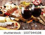 italian antipasti wine snacks... | Shutterstock . vector #1037344108