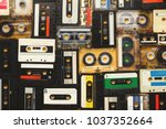 retro audio cassette tapes on... | Shutterstock . vector #1037352664