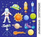 astronaut space vector icons... | Shutterstock .eps vector #1037354260