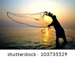 Throwing Fishing Net During...