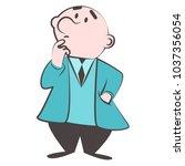 vector cartoon man in jacket... | Shutterstock .eps vector #1037356054