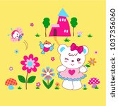 funny bears play happily with... | Shutterstock .eps vector #1037356060