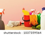 variety of house cleaning... | Shutterstock . vector #1037359564