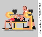 girl makes the bench press | Shutterstock .eps vector #1037359708