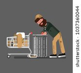 homeless with a cart digs in... | Shutterstock .eps vector #1037360044