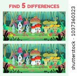 find 5 differences  game for... | Shutterstock .eps vector #1037360323