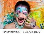 new creative make up ... | Shutterstock . vector #1037361079