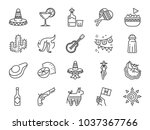 mexican line icon set. included ... | Shutterstock .eps vector #1037367766