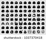 set of emoji. emoji set.... | Shutterstock .eps vector #1037370418