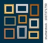 set of picture frames on blue... | Shutterstock . vector #1037371750