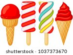 colorful red white popsicle ice ... | Shutterstock .eps vector #1037373670