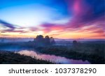 Sunset fog river landscape
