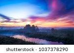 Sunset Fog River Landscape