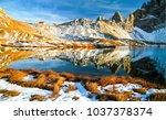 mountain snow lake landscape | Shutterstock . vector #1037378374